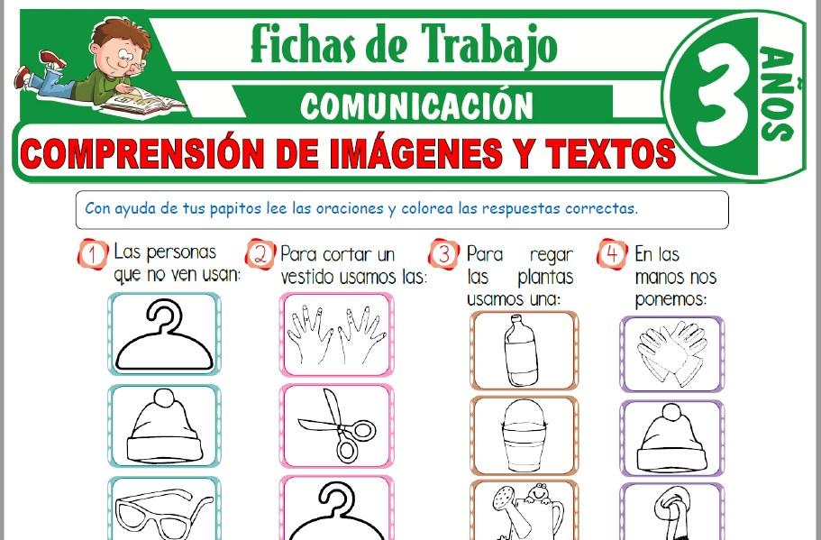 Modelos de la Ficha de Comprensión de imágenes y textos para Niños de Tres Años