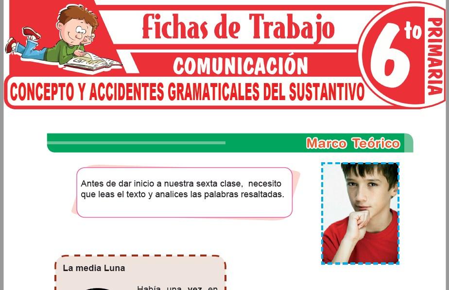 Modelos de la Ficha de Concepto y accidentes gramaticales del sustantivo para Sexto de Primaria