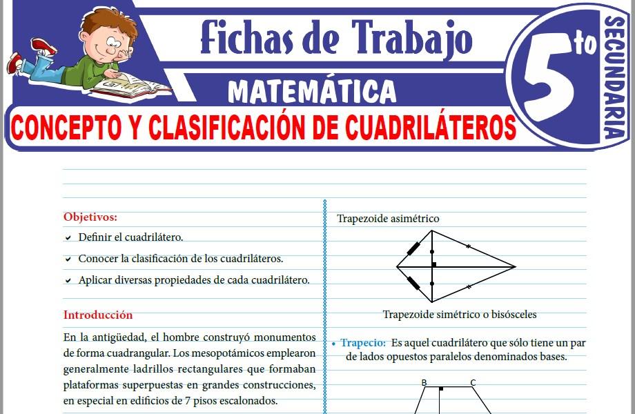 Modelos de la Ficha de Concepto y clasificación de cuadriláteros para Quinto de Secundaria