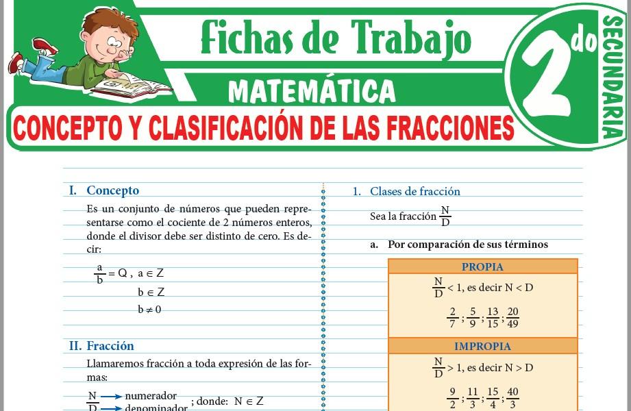 Modelos de la Ficha de Concepto y clasificación de las fracciones para Segundo de Secundaria