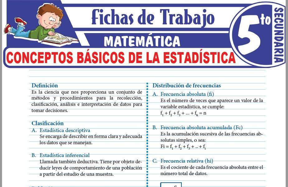Modelos de la Ficha de Conceptos básicos de la estadística para Quinto de Secundaria