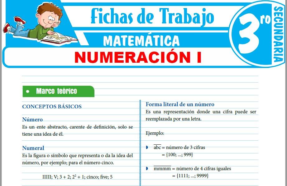 Modelos de la Ficha de Conceptos básicos de la numeración para Tercero de Secundaria