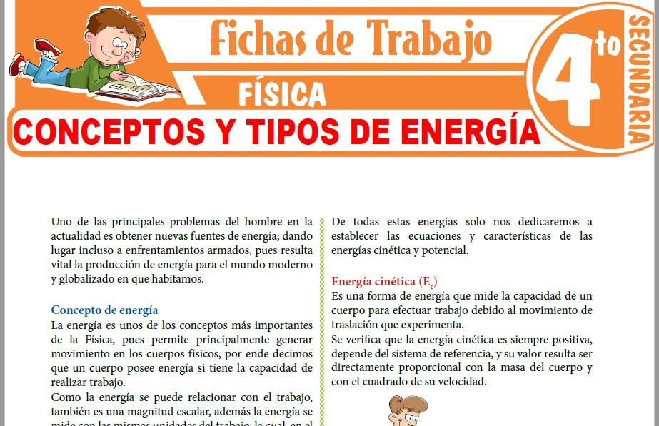Modelos de la Ficha de Conceptos y Tipos de Energía para Cuarto de Secundaria
