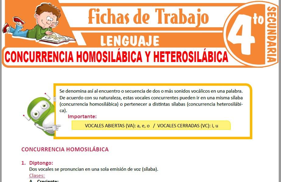 Modelos de la Ficha de Concurrencia homosilábica y heterosilábica para Cuarto de Secundaria