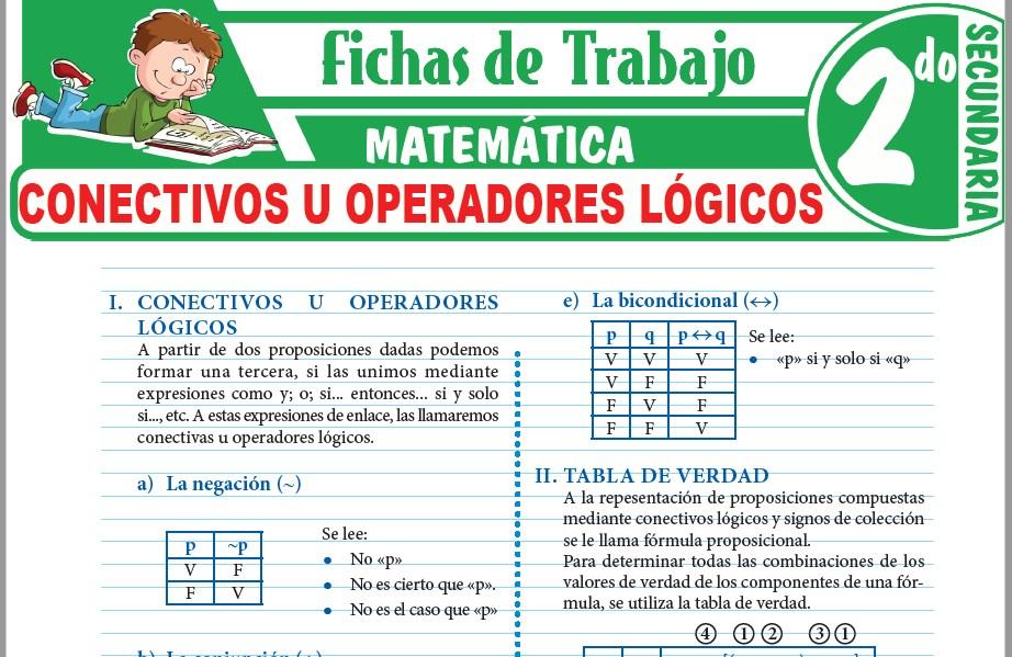 Modelos de la Ficha de Conectivos u operadores lógicos para Segundo de Secundaria
