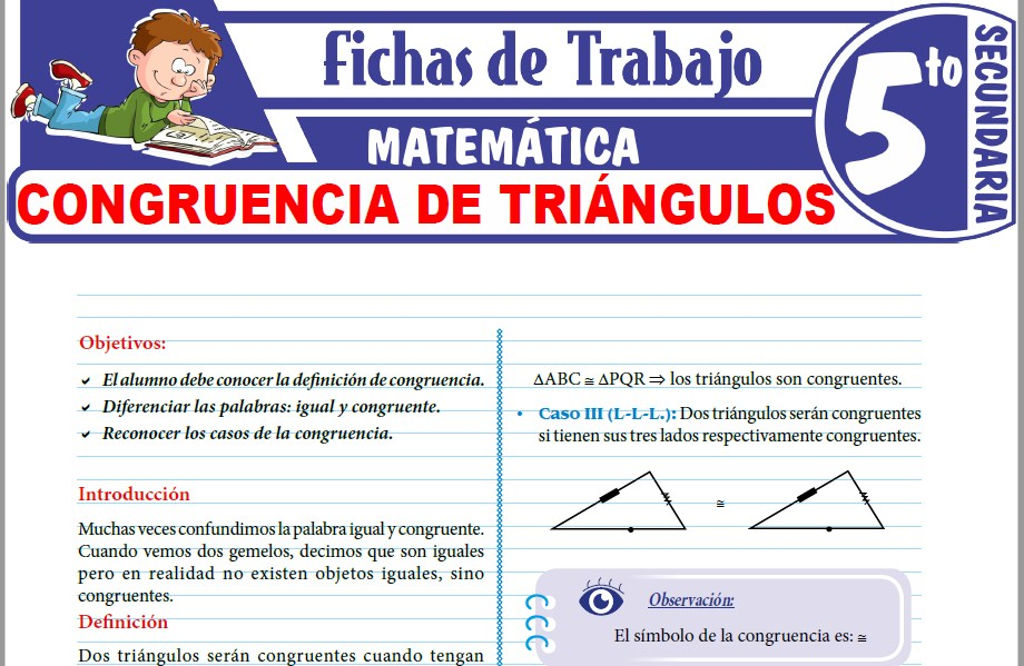 Modelos de la Ficha de Congruencia de triángulos para Quinto de Secundaria