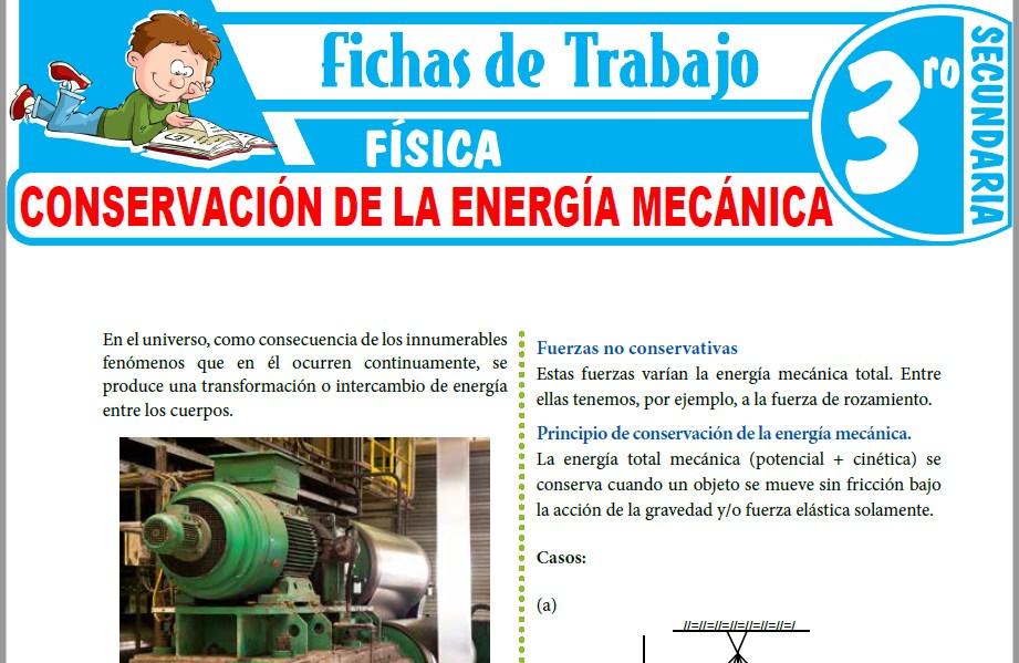 Modelos de la Ficha de Conservación de la Energía Mecánica para Tercero de Secundaria
