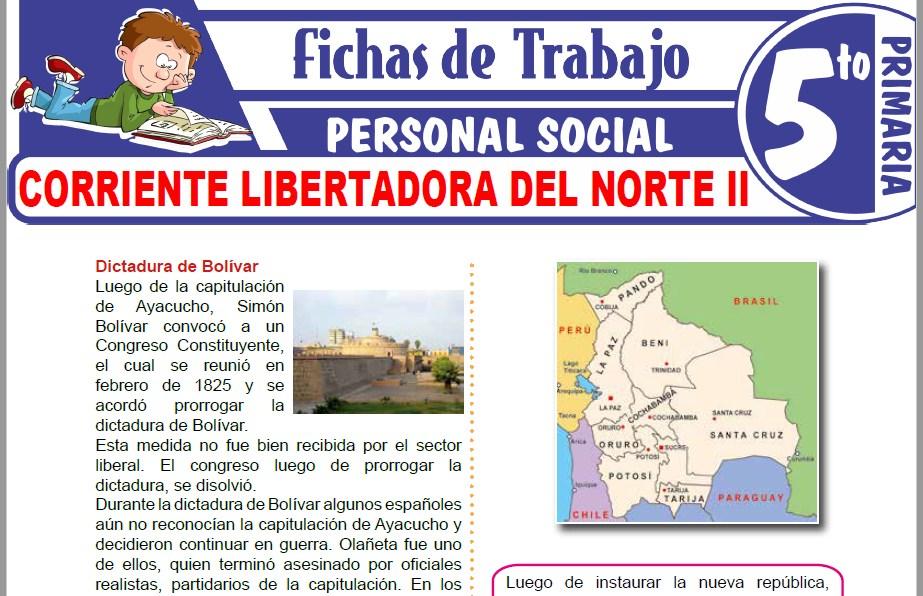 Modelos de la Ficha de Corriente libertadora del Norte II para Quinto de Primaria