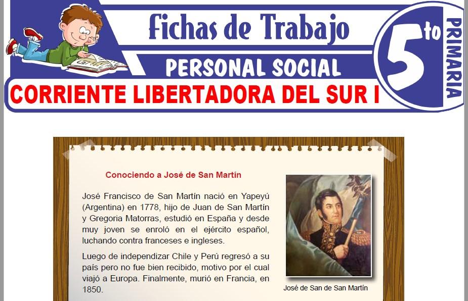 Modelos de la Ficha de Corriente libertadora del Sur I para Quinto de Primaria