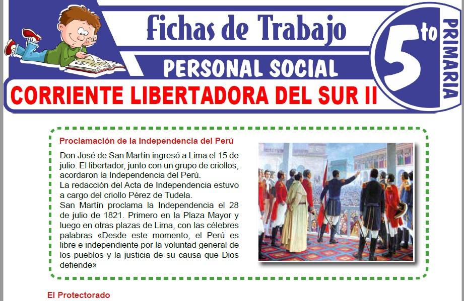 Modelos de la Ficha de Corriente libertadora del Sur II para Quinto de Primaria