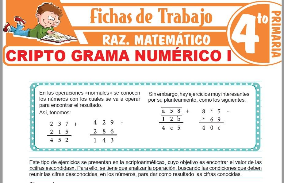 Modelos de la Ficha de Criptograma numérico I para Cuarto de Primaria