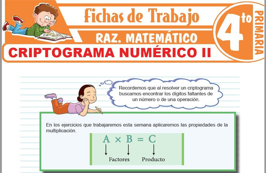 Modelos de la Ficha de Criptograma numérico II para Cuarto de Primaria