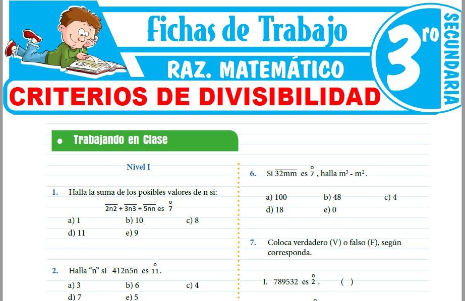 Modelos de la Ficha de Criterios de Divisibilidad para Tercero de Secundaria