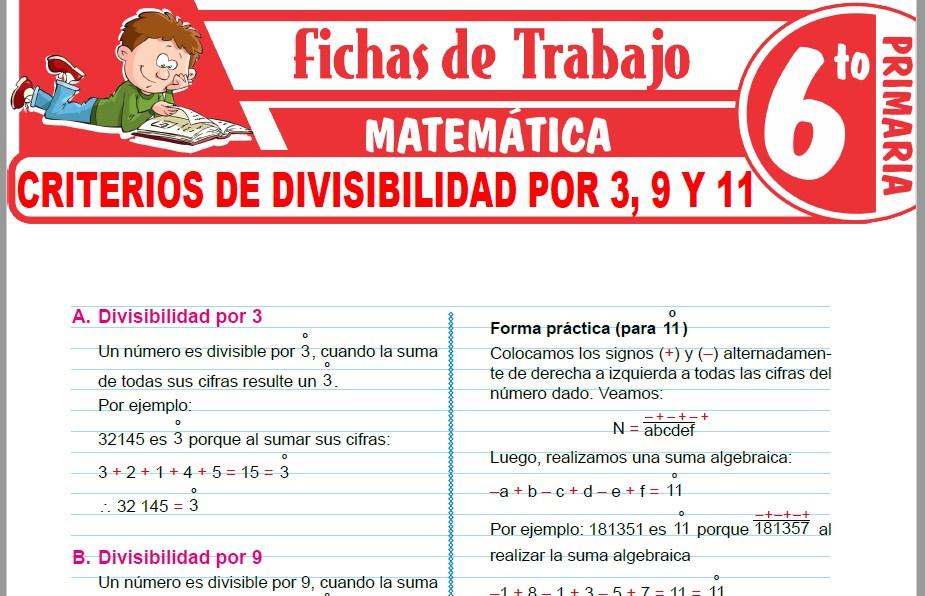 Modelos de la Ficha de Criterios de divisibilidad por 3, 9 y 11 para Sexto de Primaria