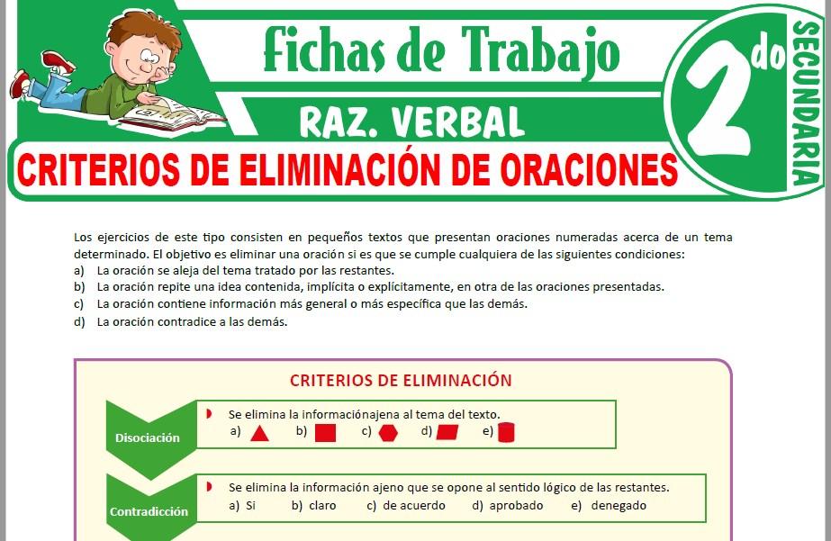 Modelos de la Ficha de Criterios de eliminación de oraciones para Segundo de Secundaria
