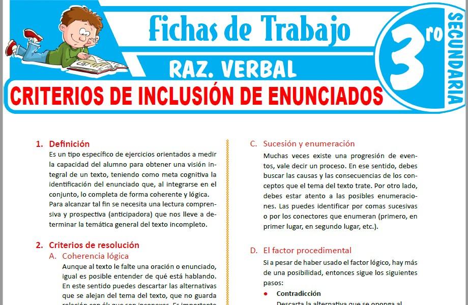 Modelos de la Ficha de Criterios de inclusión de enunciados para Tercero de Secundaria