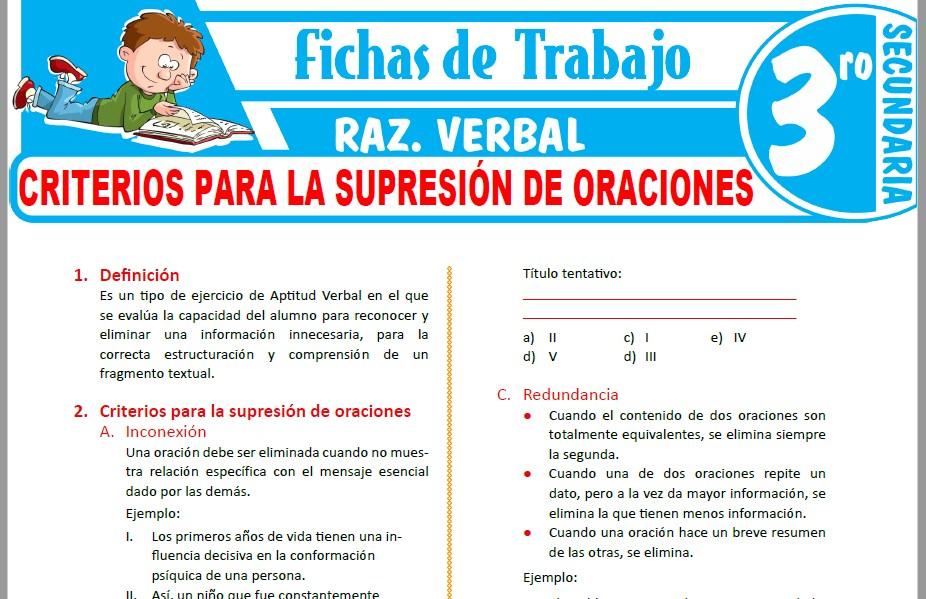 Modelos de la Ficha de Criterios para la supresión de oraciones para Tercero de Secundaria