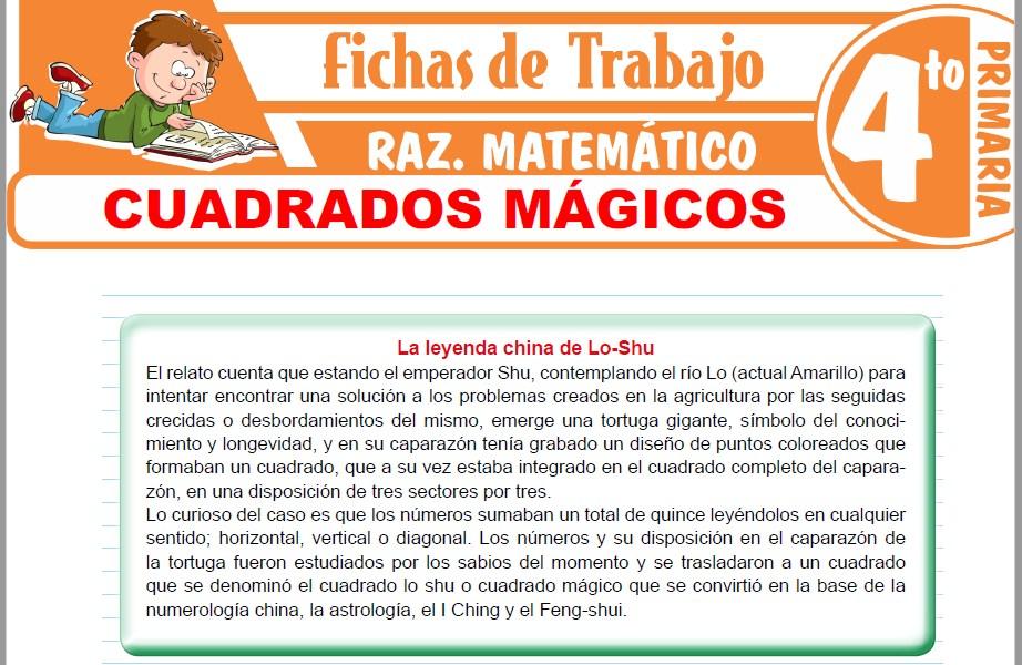 Modelos de la Ficha de Cuadrados mágicos para Cuarto de Primaria