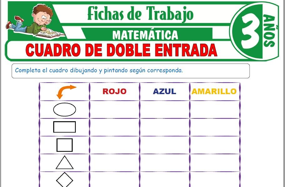 Modelos de la Ficha de Cuadro de doble entrada para Niños de Tres Años