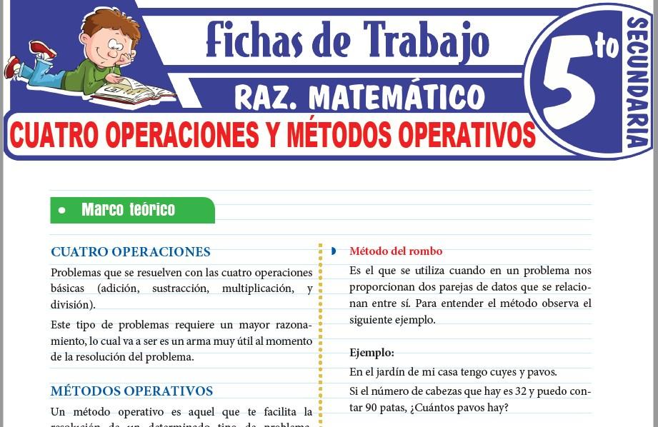 Modelos de la Ficha de Cuatro operaciones y métodos operativos para Quinto de Secundaria