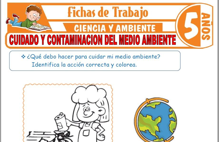 Modelos de la Ficha de Cuidado y contaminación del medio ambiente para Niños de Cinco Años