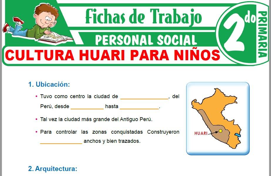Modelos de la Ficha de Cultura Huari para Niños para Segundo de Primaria