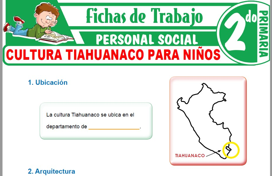 Modelos de la Ficha de Cultura Tiahuanaco para Niños para Segundo de Primaria