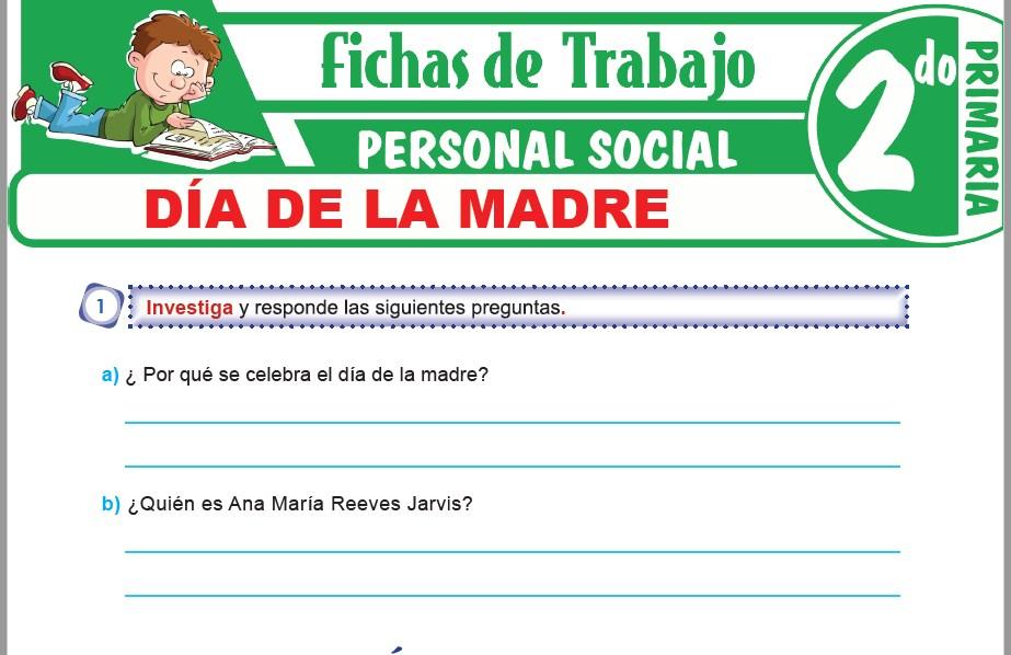 Modelos de la Ficha de Día de la madre para Segundo de Primaria