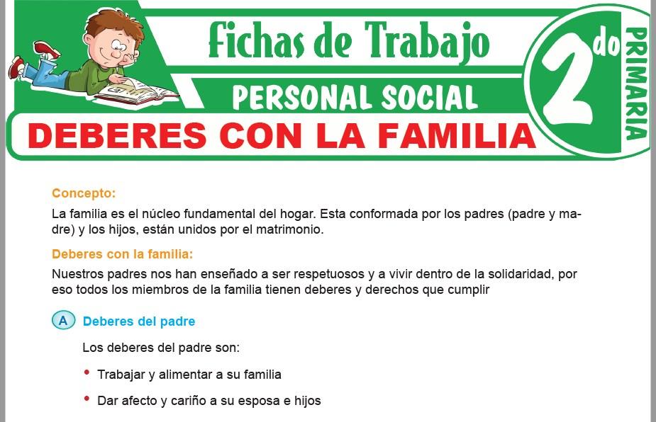 Modelos de la Ficha de Deberes con la familia para Segundo de Primaria