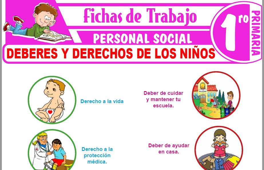 Modelos de la Ficha de Deberes y derechos de los niños para Primero de Primaria