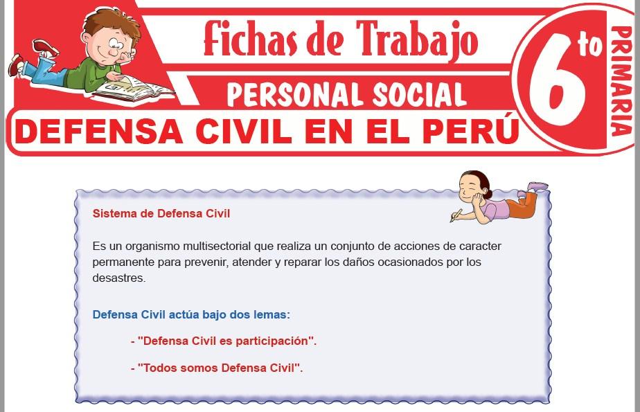 Modelos de la Ficha de Defensa Civil en el Perú para Sexto de Primaria