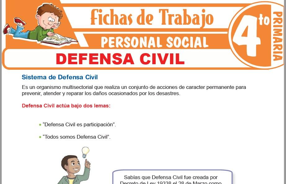 Modelos de la Ficha de Defensa Civil para Cuarto de Primaria