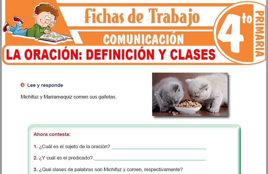 Modelos de la Ficha de Definición y clases de oraciones para Cuarto de Primaria