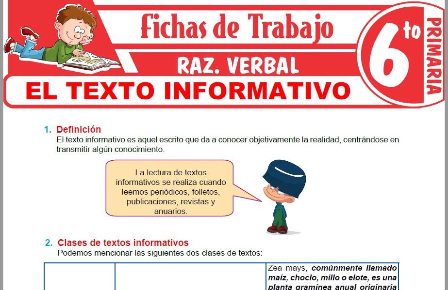 Modelos de la Ficha de Definición y clases de textos informativos para Sexto de Primaria