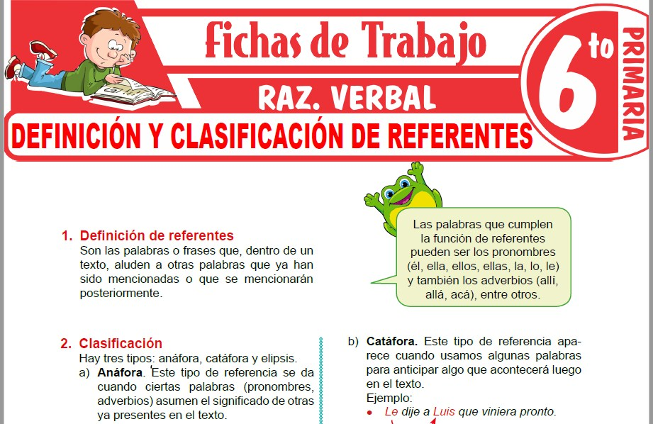 Modelos de la Ficha de Definición y clasificación de referentes para Sexto de Primaria