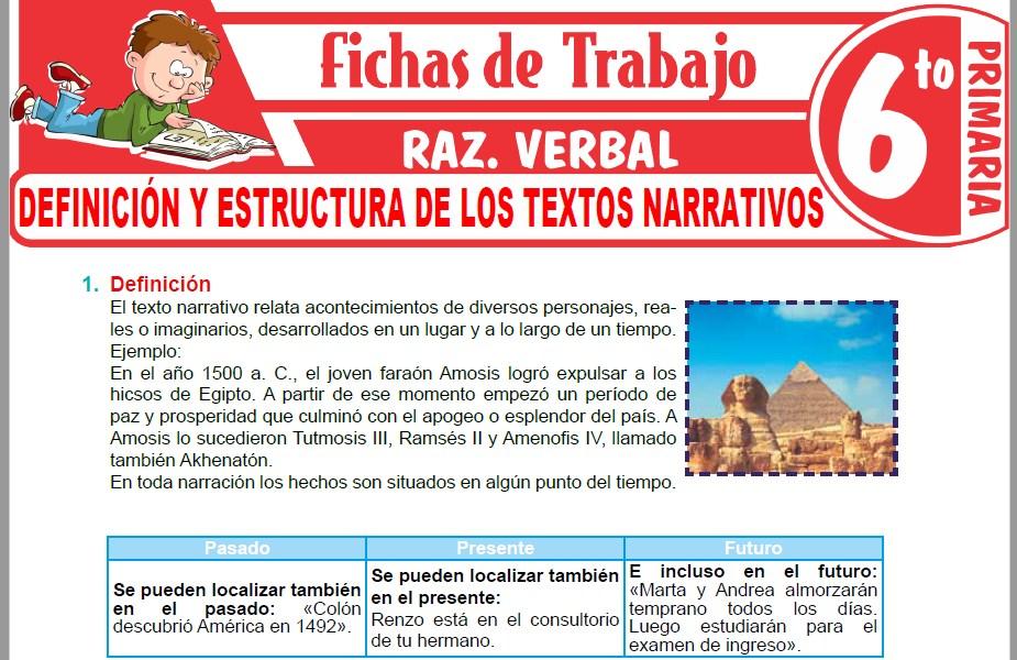 Modelos de la Ficha de Definición y estructura de los textos narrativos para Sexto de Primaria