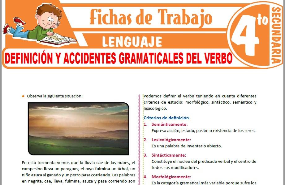 Modelos de la Ficha de Definición y accidentes gramaticales del verbo para Cuarto de Secundaria
