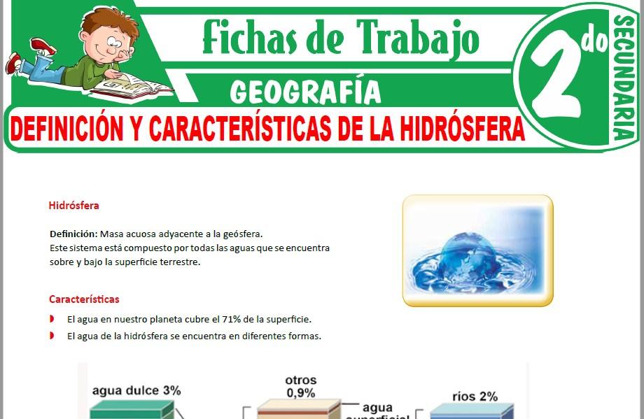 Modelos de la Ficha de Definición y características de la hidrósfera para Segundo de Secundaria