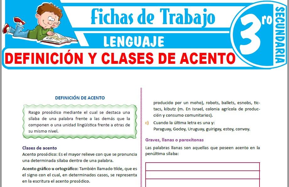 Modelos de la Ficha de Definición y clases de acento para Tercero de Secundaria