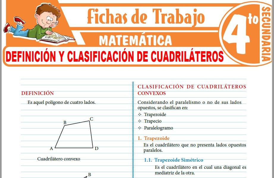 Modelos de la Ficha de Definición y clasificación de cuadriláteros para Cuarto de Secundaria