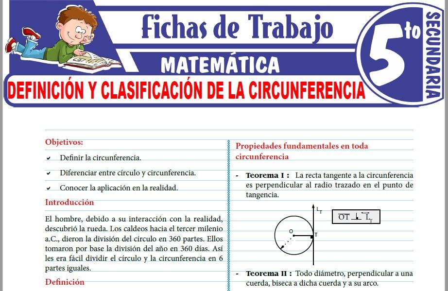 Modelos de la Ficha de Definición y clasificación de la circunferencia para Quinto de Secundaria