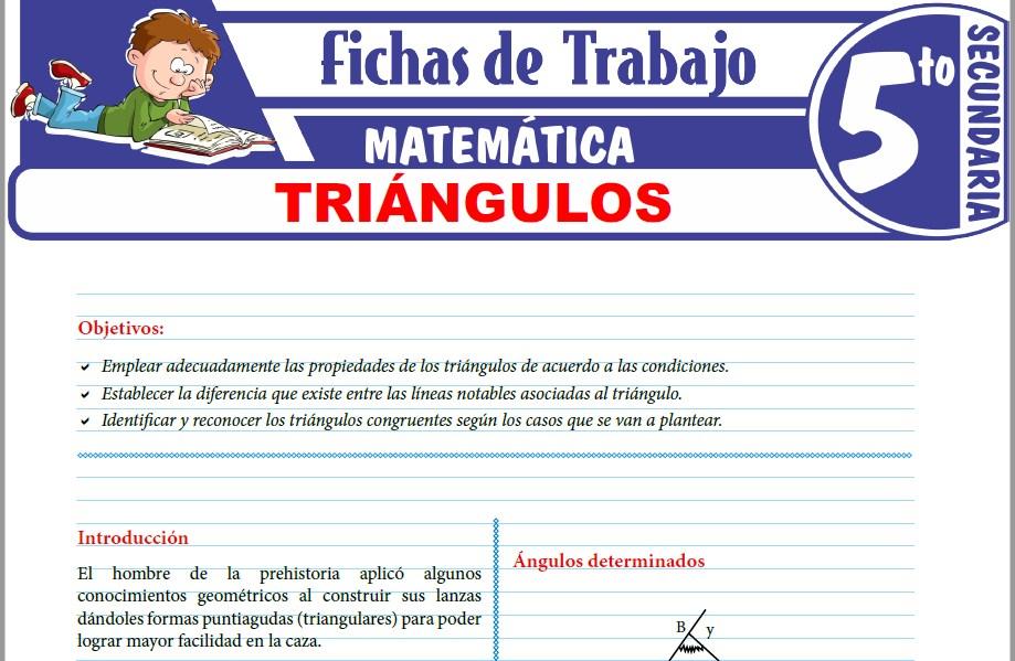 Modelos de la Ficha de Definición y clasificación de triángulos para Quinto de Secundaria