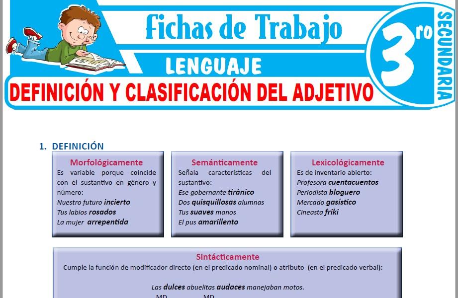 Modelos de la Ficha de Definición y clasificación del adjetivo para Tercero de Secundaria