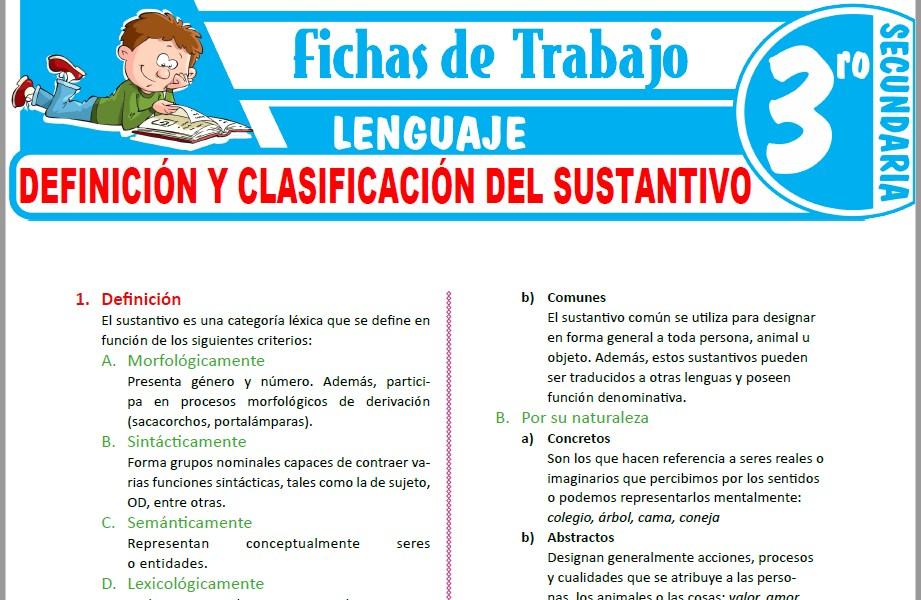 Modelos de la Ficha de Definición y clasificación del sustantivo para Tercero de Secundaria