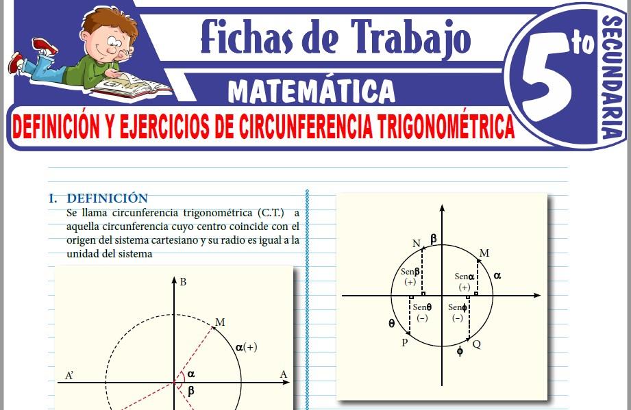 Modelos de la Ficha de Definición y ejercicios de circunferencia trigonométrica para Quinto de Secundaria
