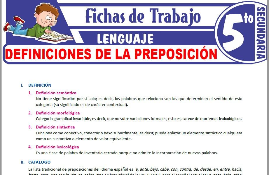 Modelos de la Ficha de Definiciones de la preposición para Quinto de Secundaria