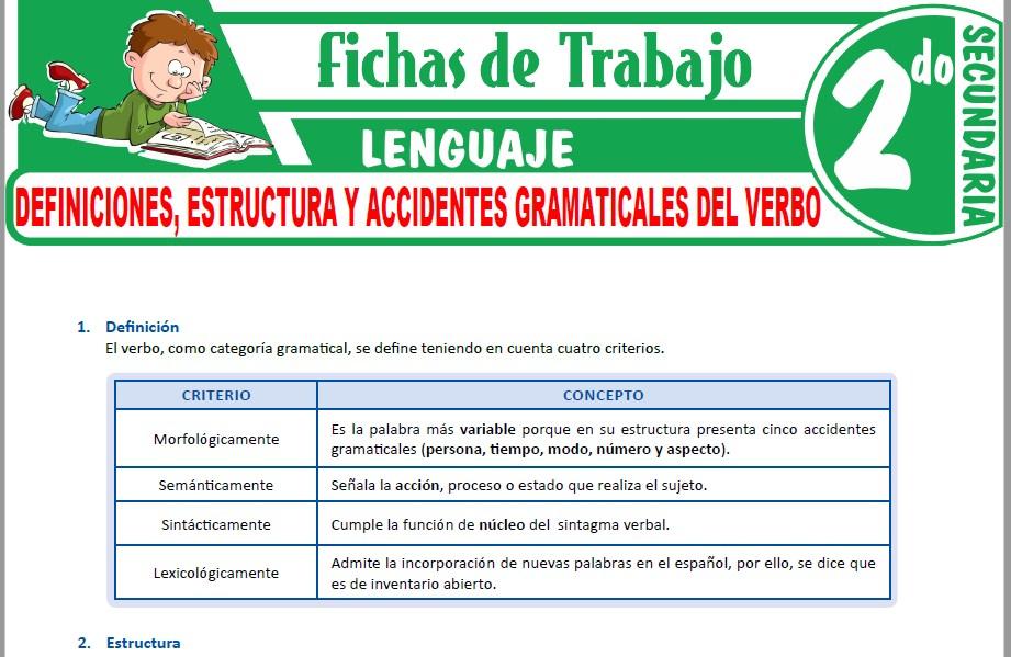 Modelos de la Ficha de Definiciones, estructura y accidentes gramaticales del verbo para Segundo de Secundaria