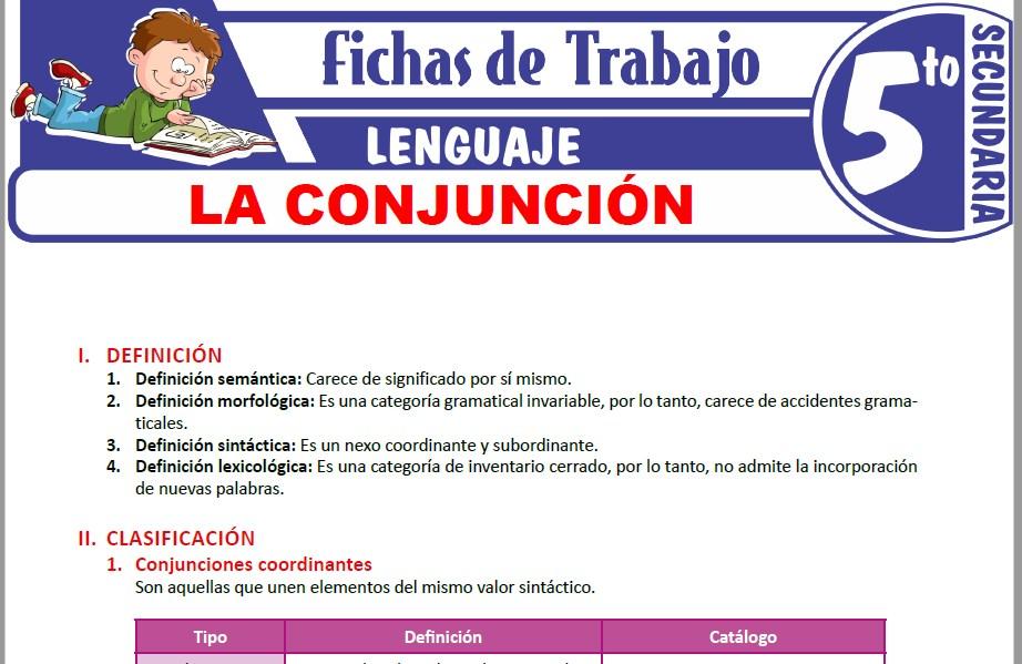 Modelos de la Ficha de Definiciones y clasificación de la conjunción para Quinto de Secundaria