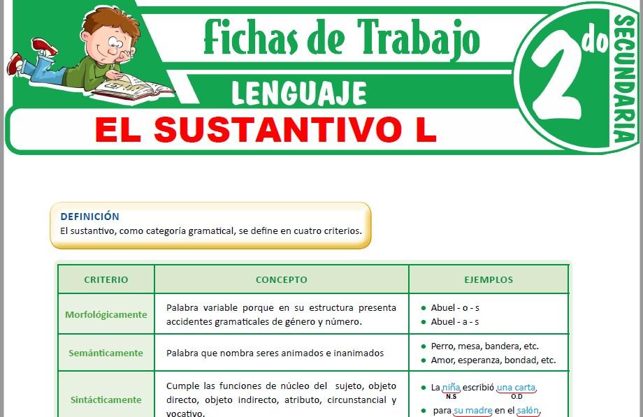 Modelos de la Ficha de Definiciones y clasificación general del sustantivo para Segundo de Secundaria