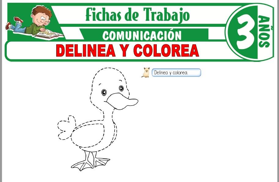 Modelos de la Ficha de Delinea y colorea para Niños de Tres Años